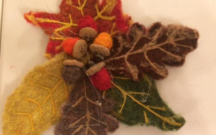 Needle Felted Leaves